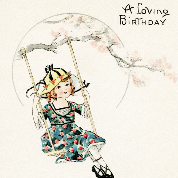 free vintage postcard, old birthday card, girl on swing clip art, vintage graphics, antique birthday greeting