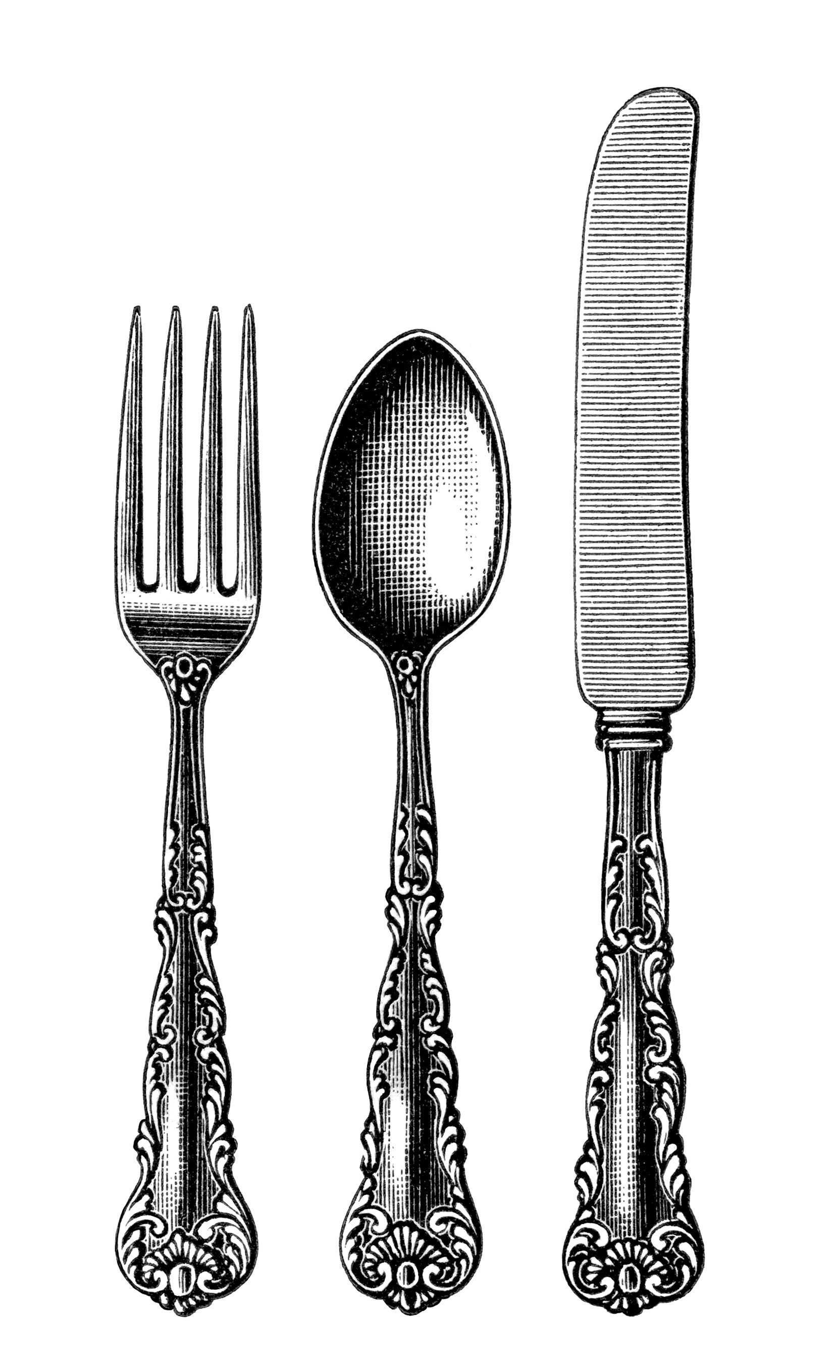 vintage cutlery clipart, black and white clip art, old fashioned spoon ...
