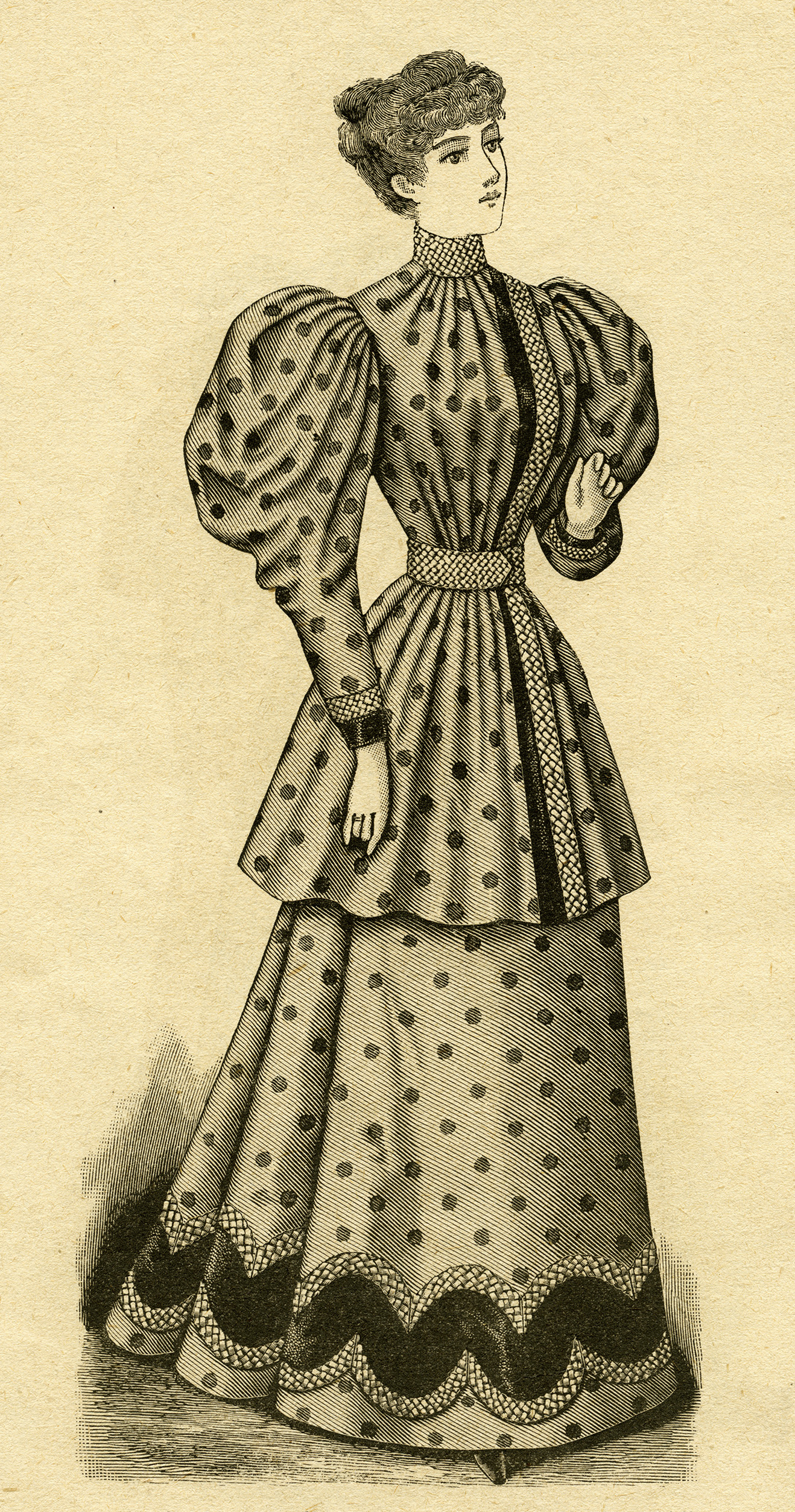 llustration of a Victorian lady in a polka dot outfit that is referred to as a Ladies' House Toilette in the April 1894 issue of The Delineator magazine