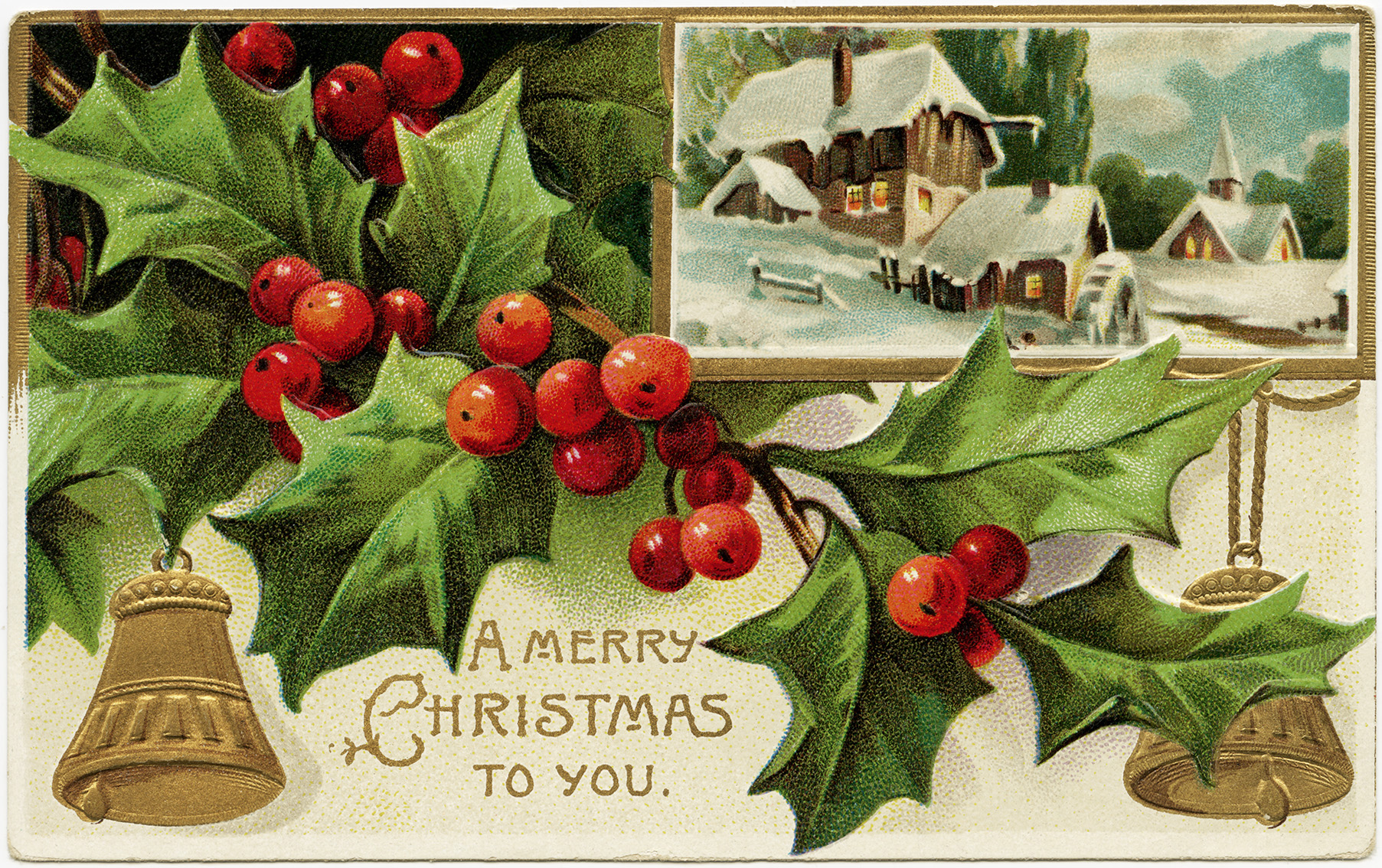 Holly And Berries Vintage Christmas Postcard Free Download Old