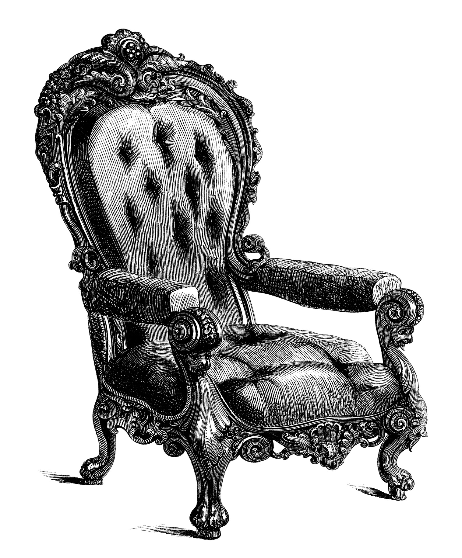 Antique Chairs Free Clip Art Engravings Old Design