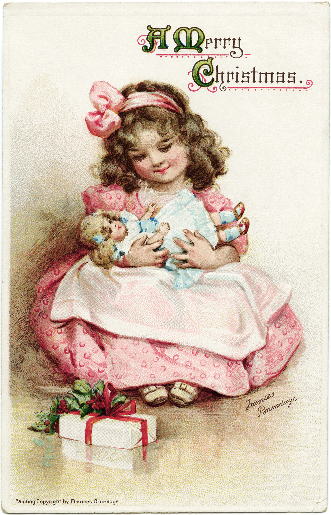 Frances brundage girl in pink dress with doll free vintage christmas