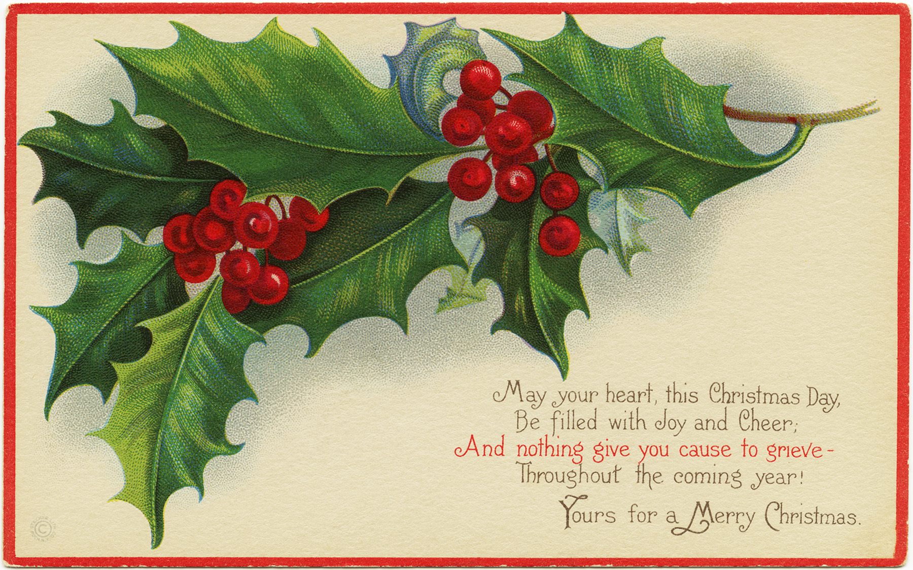 Vintage christmas postcard old fashioned christmas card holly
