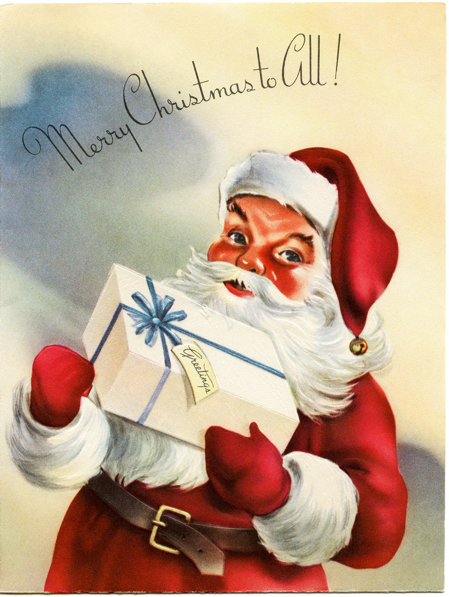 santa clip art, old fashioned christmas card, retro christmas graphic ...