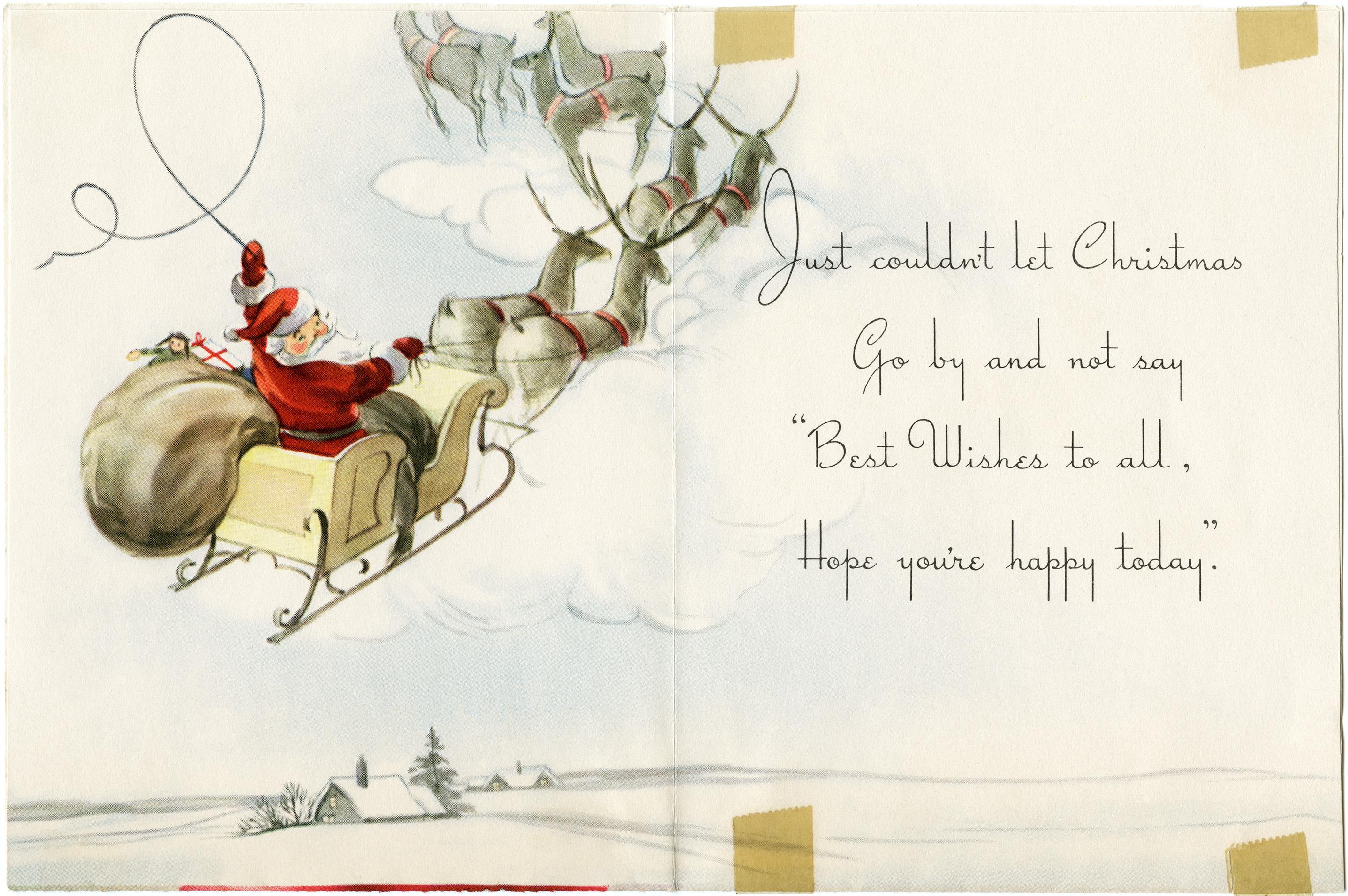 Christmas card retro christmas graphic vintage printable santa