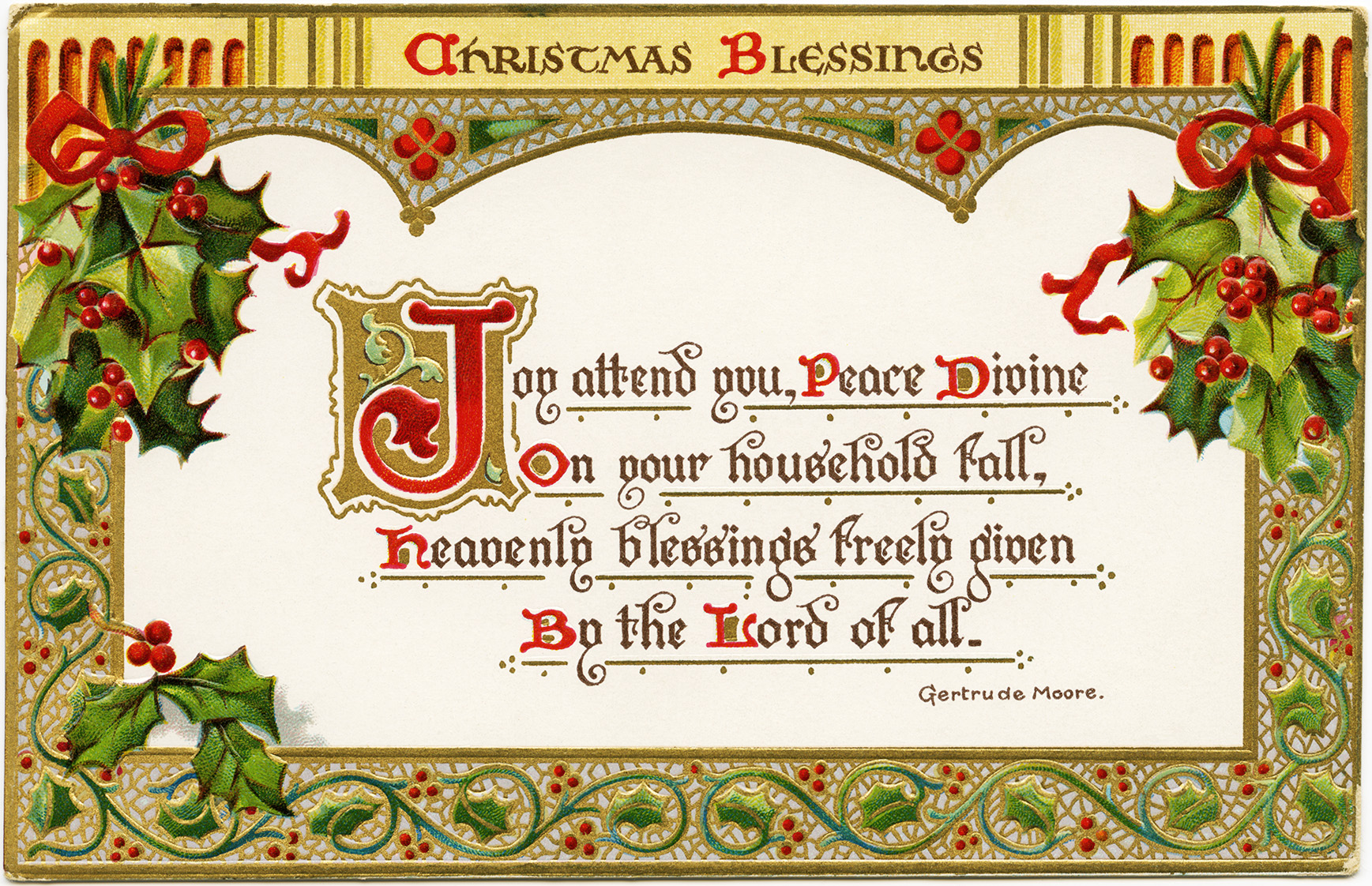 Christmas Blessings Free Vintage Postcard Graphic Old Design