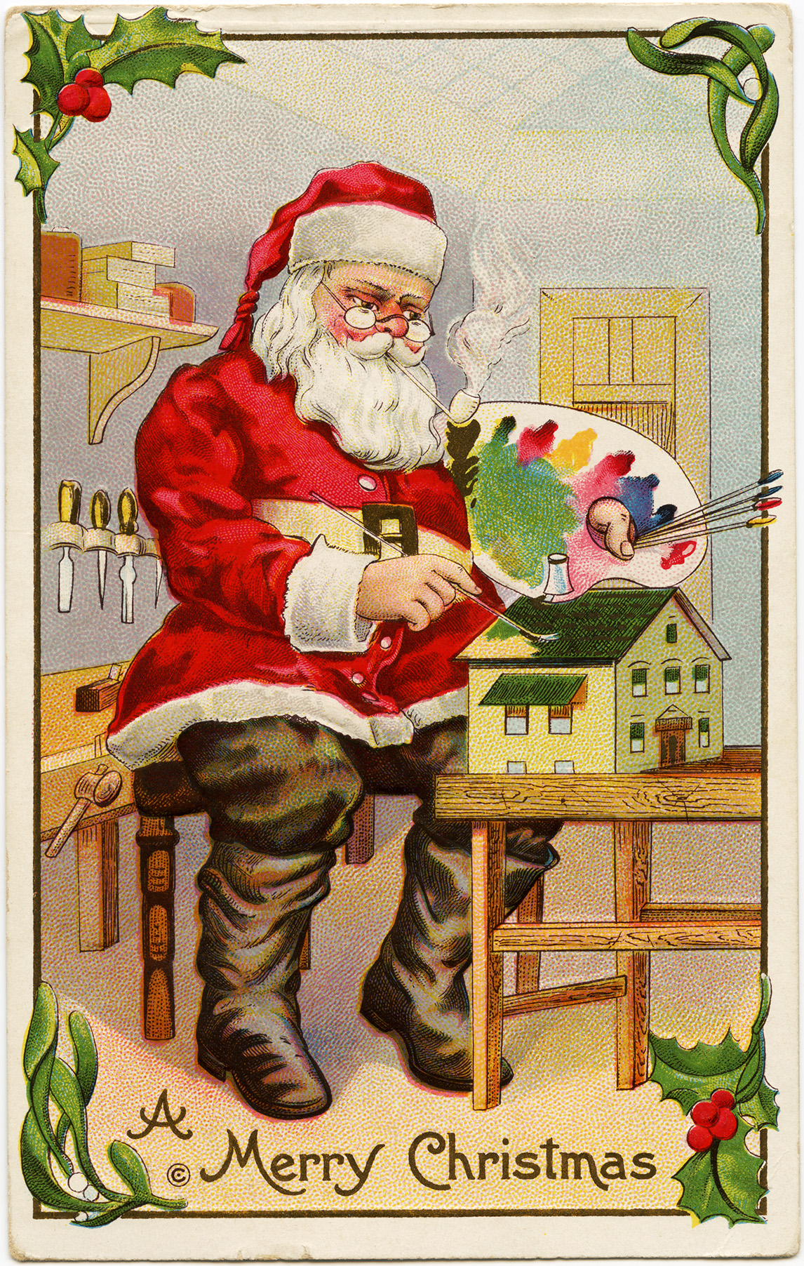 Vintage christmas postcard santa painting doll house santa claus