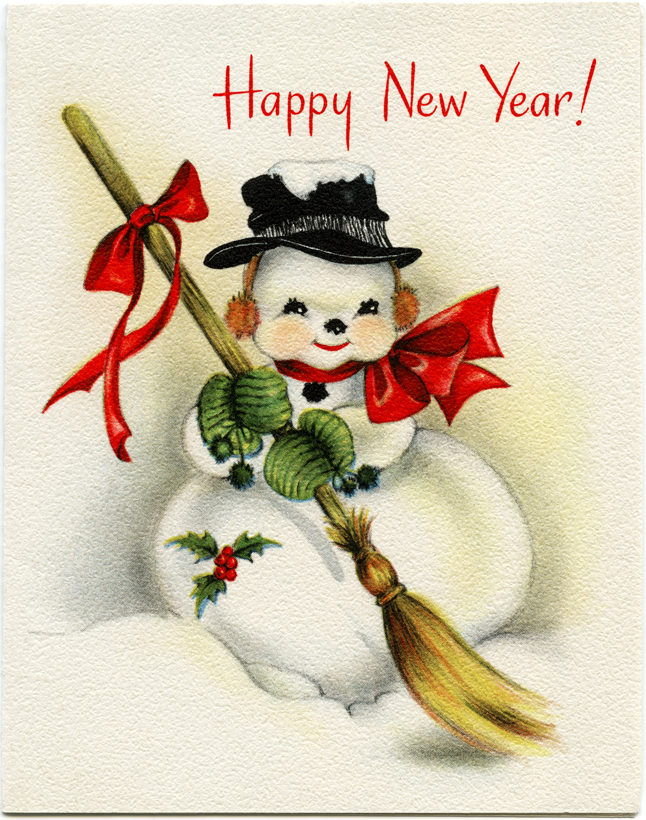 Vintage snowman new year greeting card old design shop