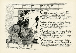 fire poem, laura e richards, albertine randall wheelan, vintage children clipart, free black and white clip art, boy girl fireplace image