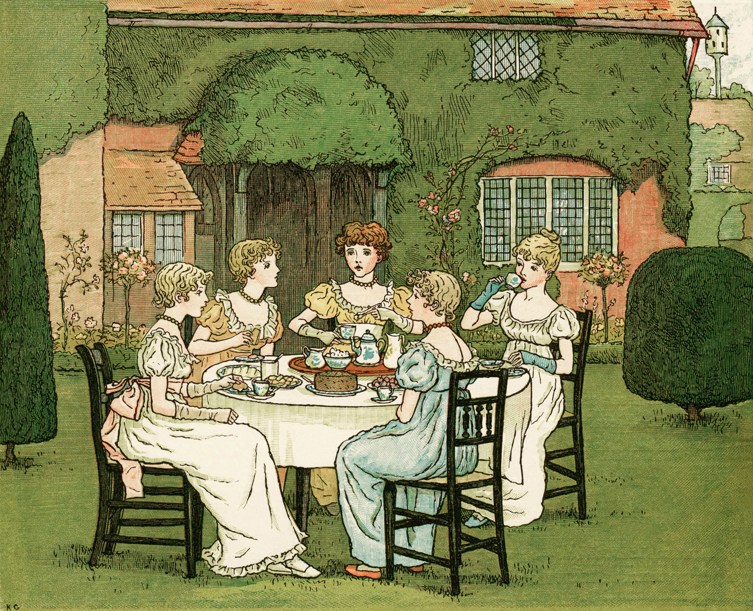 The Tea Party By Kate Greenaway
