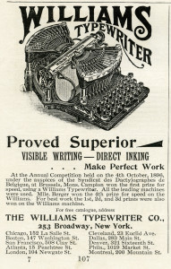 vintage typewriter clipart, black and white clip art, antique typewriter, williams typewriter advertisement, old magazine ad