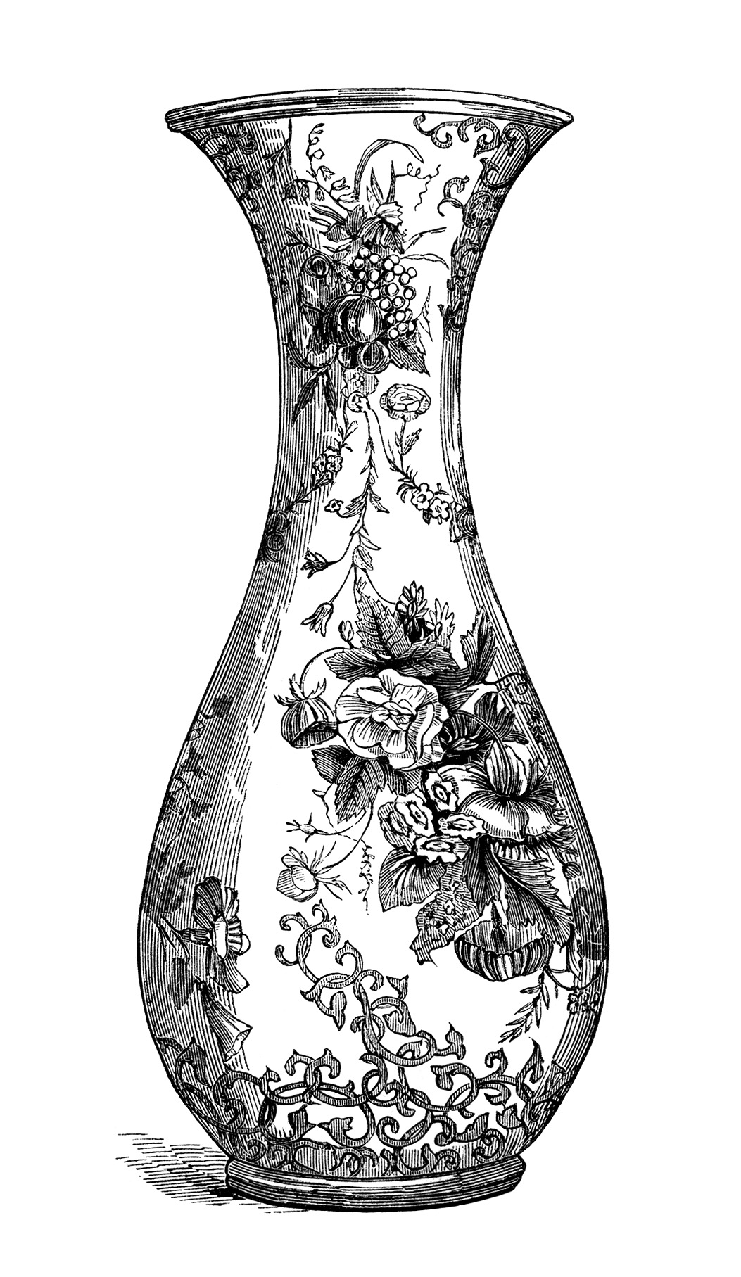 floral vase engraving free vintage clip art old design. Black Bedroom Furniture Sets. Home Design Ideas