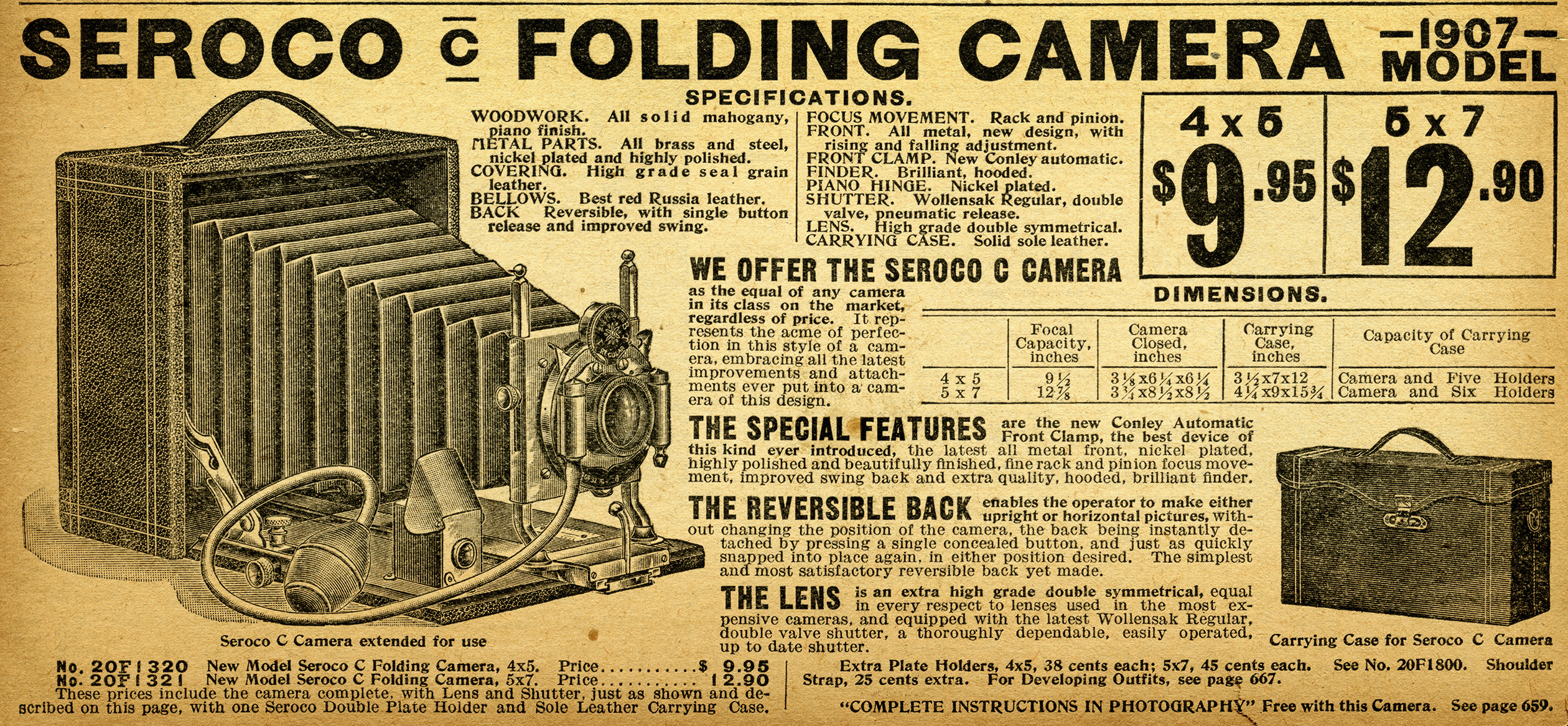 ... illustration, vintage camera clip art, seroco camera ad, 1907 camera