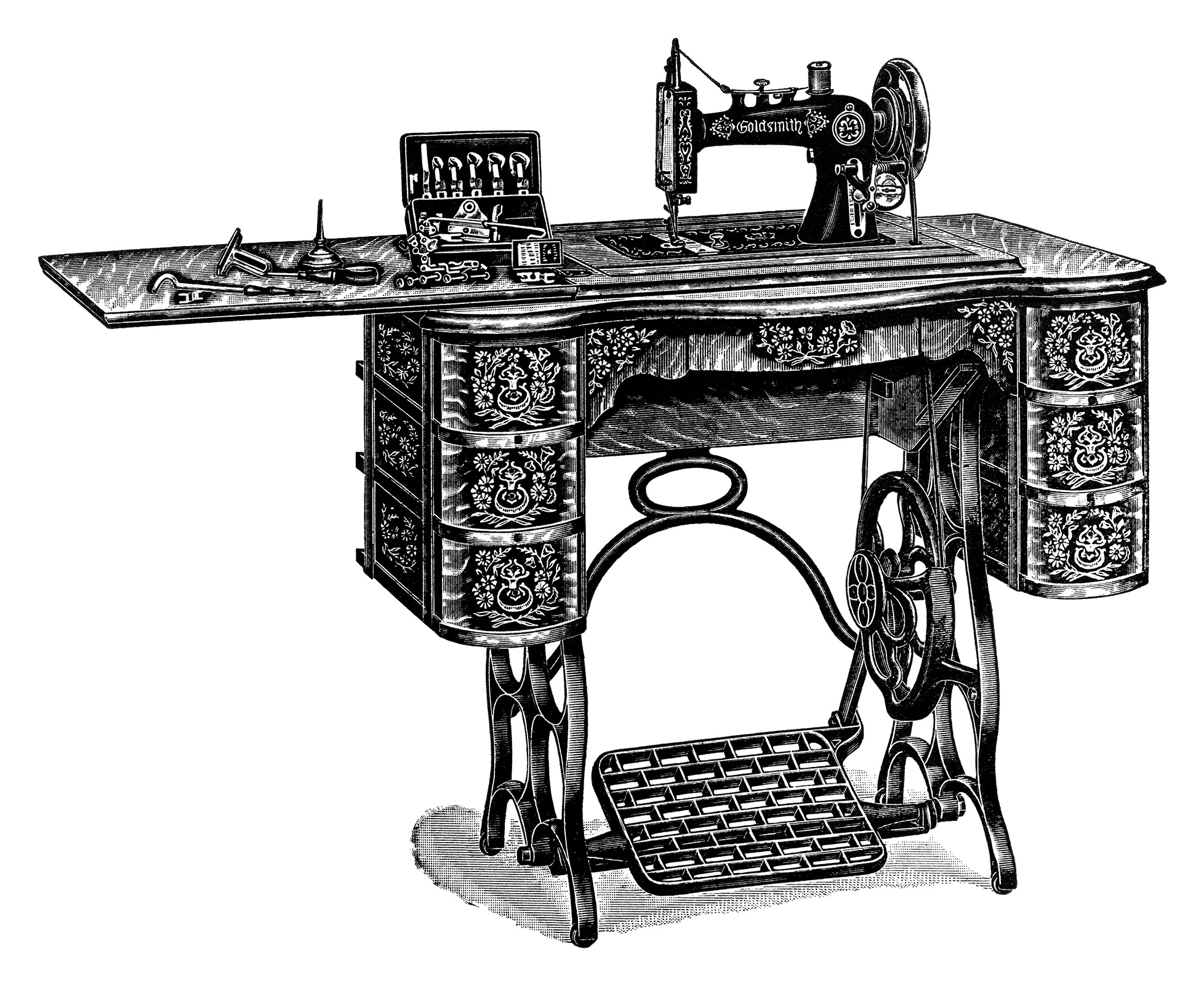 free vintage treadle sewing machine images old design shop blog. Black Bedroom Furniture Sets. Home Design Ideas