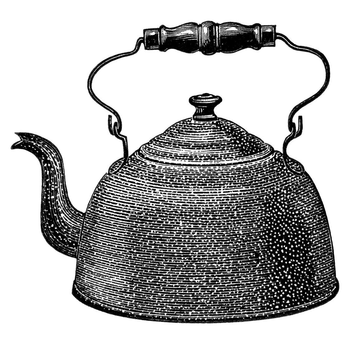 Kettle Clip Art ~ Enamel on steel kettle free vintage clip art old