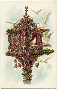 vintage postcard birds, flowered birdhouse, purple flowers doves image, old card birds, vintage ephemera free graphics
