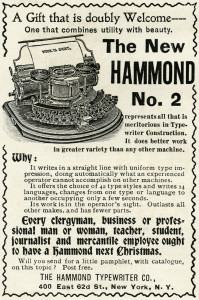antique typewriter, black and white clipart, old magazine ad, vintage office clipart, Hammond typewriter illustration