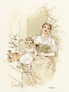 Alice Wheaton Adams, Little Bo Peep, mother and child illustration, vintage storybook image, baby clipart