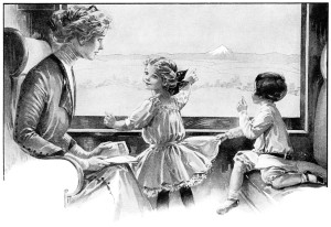 vintage magazine advertising, rocky mountain limited, rock island frisco lines, Victorian mother and children, vintage train clip art