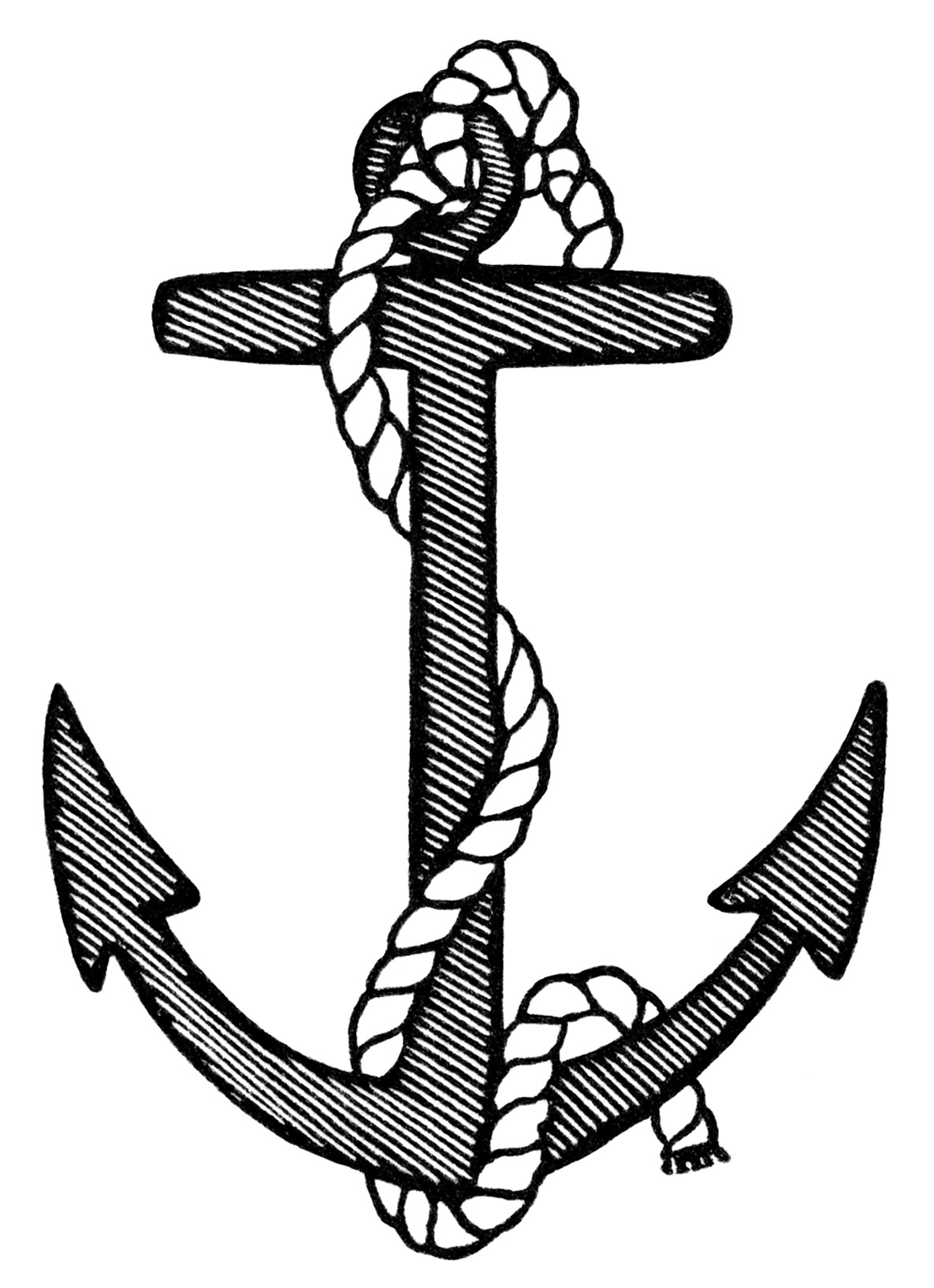 ... , anchor clip art, black and white clipart free, vintage anchor image Vintage Anchor Drawing