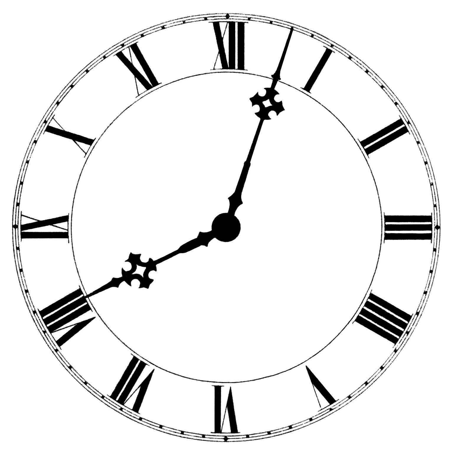 vintage school clip art, roman numeral clock graphics, old catalog ad ...