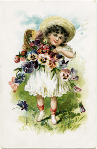 Victorian girl clipart, old postcard graphics, vintage flower girl, public domain child image, antique love card