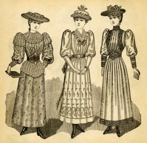 Victorian teen girl clip art, antique misses clothing, black and white clipart, Edwardian dress image, vintage fashion illustration