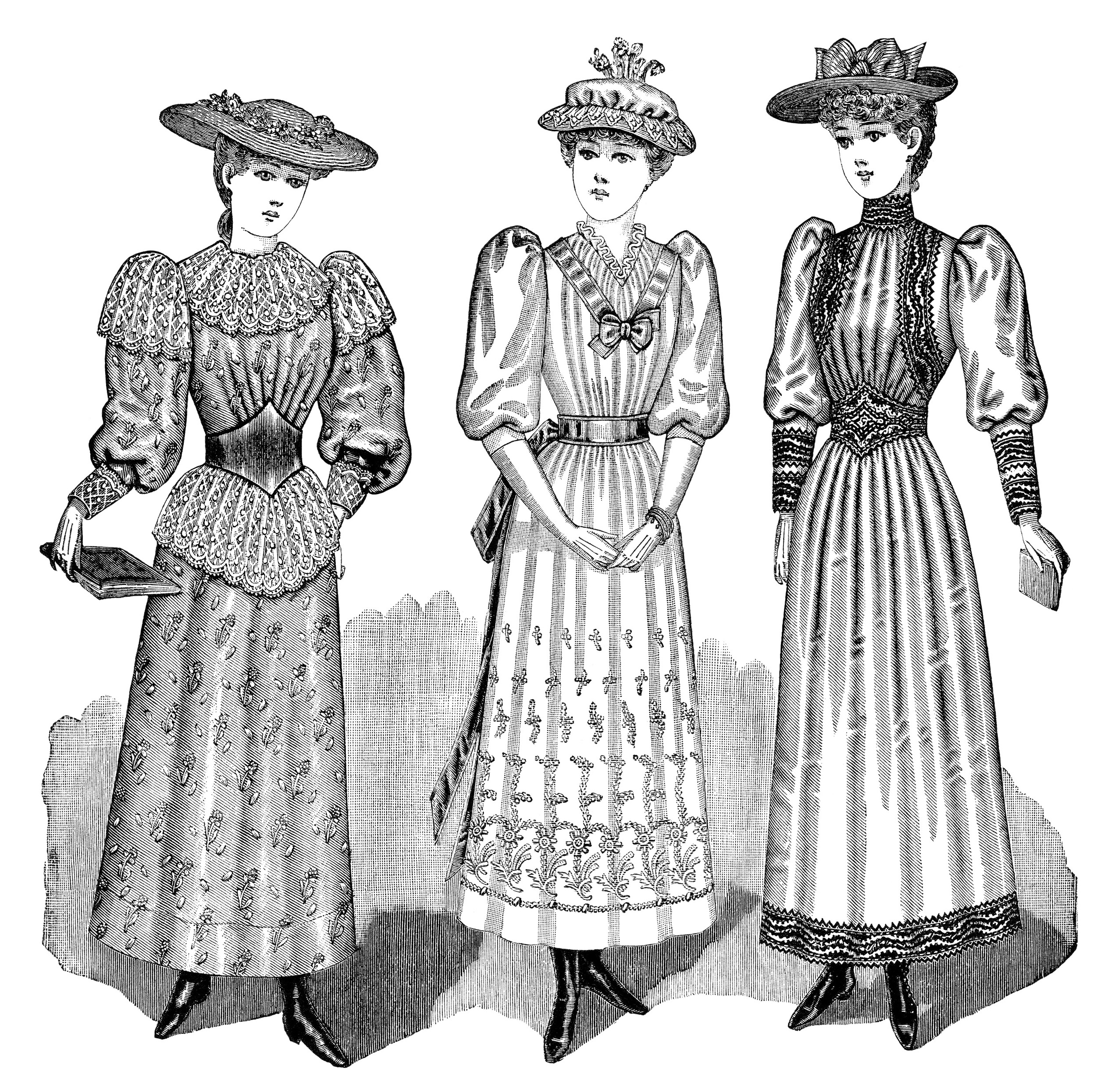 Young Ladies' Victorian Fashion ~ Free Clip Art   Old ...
