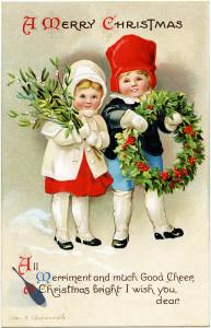 vintage Christmas postcard, Ellen Clapsaddle, Christmas girl boy illustration, Victorian Clapsaddle children, mistletoe holly berry wreath