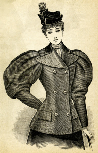 Victorian lady illustration, vintage woman clip art, black and white clipart, Edwardian fashion image, antique jacket style