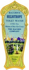 vintage perfume label, bacorns toilet water, vintage beauty clip art, Victorian perfume graphic, heliotrope toilet water
