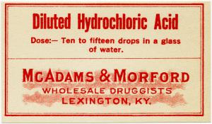 McAdams Morford, vintage poison label, Halloween clip art, vintage druggist pharmacy label, hydrochloric acid label