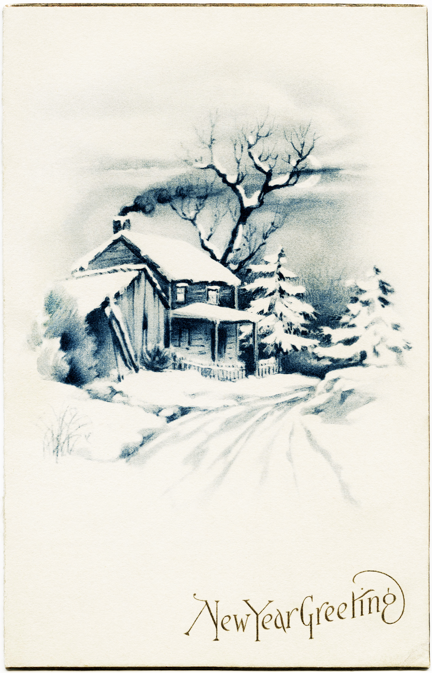 Snowy Winter Country Scene ~ Free Vintage Image | Old ...