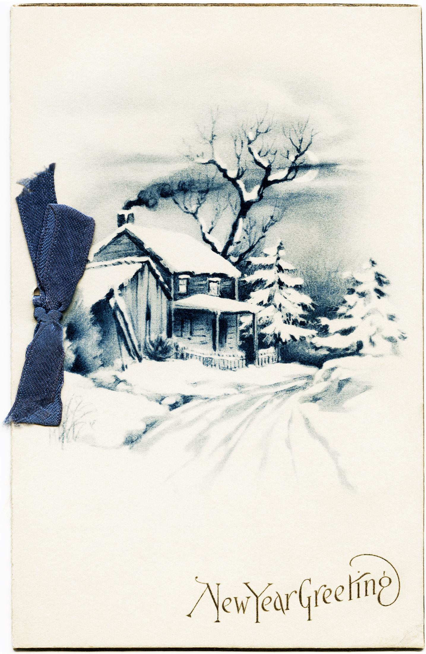 Vintage Winter Scene Clip Art – Clipart Download