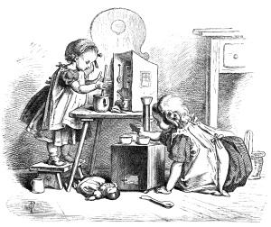 black and white clip art, Oscar pletsch engraving, Victorian girls printable, little cooks storybook illustration, girls cooking clip art, vintage children in kitchen image