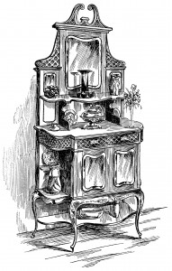Victorian furniture illustration, black and white clip art, vintage kitchen clipart, sideboard cabinet image, old fashioned cupboard