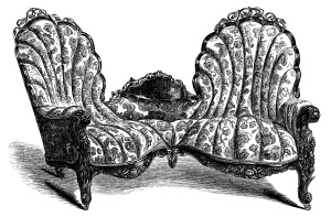 Victorian furniture clip art, vintage couch set, living room sofa engraving, antique chair illustration, black and white clip art