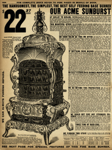 aged paper ephemera, black and white clip art, old catalogue page, vintage kitchen printable, vintage stove clipart, acme sunburst, hard coal base burner