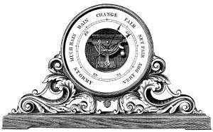 barometer clip art, black and white graphics, vintage barometer engraving, aneroid barometer illustration, weather clipart