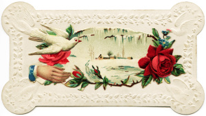 Victorian calling card, vintage ephemera, free vintage card, old fashioned visiting card, printable card hand flower, winter scene card
