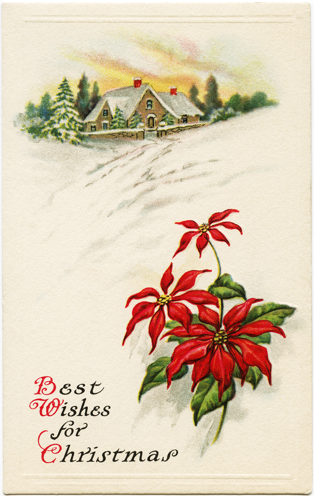 Winter scene old fashioned christmas card free holiday graphic