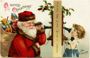 Clapsaddle Christmas postcard, vintage Christmas clip art, antique santa illustration, santa on phone with girl, old fashioned Christmas graphic