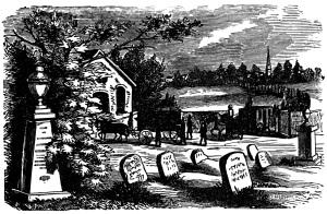 vintage Halloween clip art, black and white clipart, tombstone graphics, Victorian graveyard scene, headstone grave illustration
