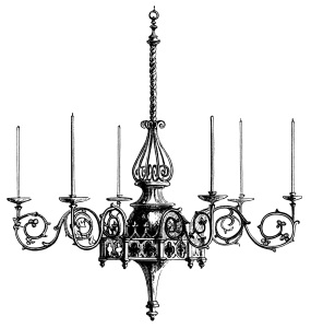 Victorian chandelier illustration, black and white graphics, Hardman brass chandelier, vintage lighting, spooky Halloween clip art, antique light fixture