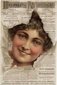 Victorian trading card, hoods sarsaparilla, free vintage ephemera, old advertising card, face in newspaper sarsaparilla ad