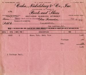 vintage invoice graphic, cahn nickelsburg co, pink invoice digital, old pink, receipt antique shoe boot invoice, vintage paper ephemera