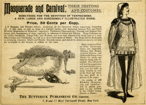 antique magazine ad, free black and white graphics, vintage costume clipart, masquerade and carnival, vintage butterick advertisement