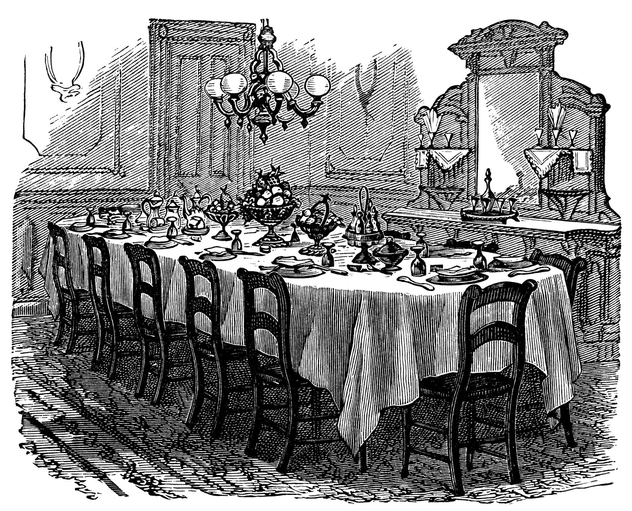 dining room clipart black and white - photo #36