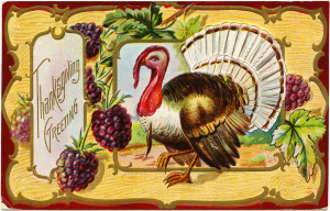 antique Thanksgiving postcard, turkey clip art, Victorian thanksgiving clipart, vintage turkey graphic, old fashioned thanksgiving card