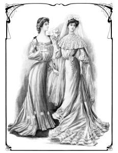 Victorian bride clip art, black and white graphics, vintage bride illustration, bride bridesmaid maid of honor clipart, vintage wedding printable